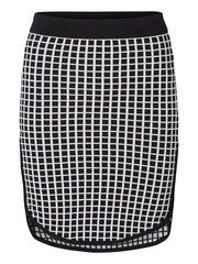 KNITTED CHEQUERED SKIRT, Black