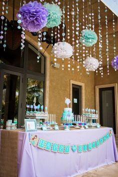Gorgeous Little Mermaid birthday party decorations in purple, aqua, and white. Little Mermaid Baby, Little Mermaid Birthday, Little Mermaid Parties, Girl Birthday, Birthday Parties, Birthday Ideas, Birthday Gifts, Happy Birthday, Mermaid Theme Birthday