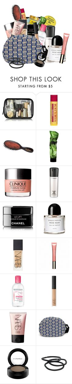 """""""My makeup bag"""" by frederikkematilder on Polyvore featuring beauty, Burt's Bees, Mason Pearson, Aesop, MAC Cosmetics, Chanel, Byredo, NARS Cosmetics, Clarins and H2O+"""