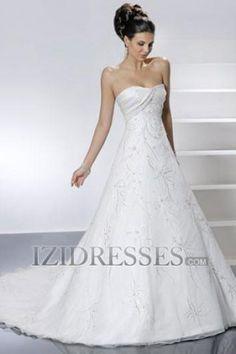 A-Line Empire Strapless Organza Lace A-Line Wedding Dresses at IZIDRESSES.com