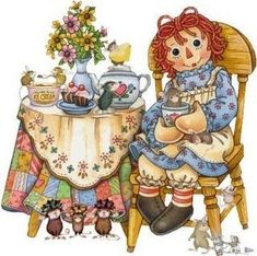 Oh, it's Raggedy Ann! What a surprise.this will be the best tea time… Vintage Pictures, Cute Pictures, Ann Doll, Raggedy Ann And Andy, Creation Couture, House Mouse, Holly Hobbie, Tea Art, Illustrations