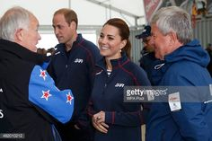 Prince William, Duke of Cambridge and Catherine, Duchess of Cambridge speak with dignitaries as they tour the base of Emirates Team New Zealand at the America's Cup World Series event on July 26, 2015 in Portsmouth, England.