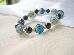 Ocean Breeze Glass Beaded Bracelet by beardedirisboutique on Etsy, $22.00