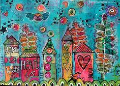 Home is where the heart is - birgit koopsen - art journal -- And more collage paper... I have a big pile of colorful deli paper on which I stamped and stenciled while gelli printing and they are perfect for collage!