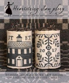 """Schoolhouse Coverlet Pin Drum is the title of this cross stitch pattern from Heartstring Sampler"" #crossstitch #crafts"