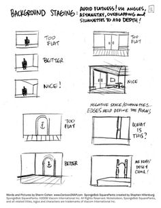 "coelasquid:   Of course your style of staging depends heavily on the intended look of project you're working on. This looks like a SpongeBob style guide, on Ugly Americans we were instructed to stage scenes with one-point perspective so they would look like ""a diorama built in a shoe box"". It's easy to forget that staging is something that can be stylized as much as the characters and backgrounds themselves, and how you handle it beyond ""textbook correct"" and ""textbook incorrect"" will…"