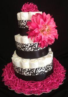 Damask diaper cake.