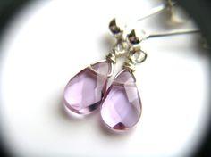 Purple Stud Earrings Light Purple Amethyst Post by ThePeachTree