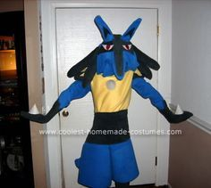 Homemade Lucario Anime Costume: My Dad helped me make the coolest costume ever, a Pokemon costume.  Which one, you ask?  A big, bad, blue Lucario, of course!