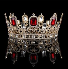 6cm high ruby red sparkling crystal gold king crown wedding prom fumud 3 inch height big red square crystal tiaras gold and silver plated clear ruby rhinestone king crownjunenew arrivalfumud jewelry thecheapjerseys Choice Image