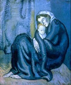 """Mother and Child"".Artist: Pablo Picasso Completion Date: 1902 Style: Expressionism, Symbolism Period: Blue Period Genre: genre painting Technique: oil Material: canvas Dimensions: x cm Gallery: Fogg Art Museum, Cambridge, Massachusetts, USA. Pablo Picasso, Kunst Picasso, Art Picasso, Picasso Blue, Picasso Paintings, Picasso Drawing, Picasso Style, Abstract Paintings, Oil Paintings"