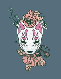 """NOTEBOOK: Kitsune Fox Mask Kawaii Ninja College Ruled Lined Journal Book 