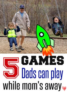 5 Games Dads can Play while Mom's Away: Five Free Printable Games perfect for Dads who are watching the kids while Mom is away on travel. Games include: Jumping Beans, Go Fish (not the card game), Rocket Ship Activity Pack, Olympic Games Activity Pack, and 40 flash cards to teach kids about Spanish and English words. Just print and play! A great idea for family fun!