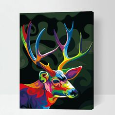 Frameless Color Magic Deer DIY Painting By Numbers Kits Coloring Oil Painting On Canvas Drawing Home Artwork Wall Art Picture Cross Paintings, Animal Paintings, Animal Drawings, Drawing Animals, Deer Paintings, Modern Paintings, Deer Pictures, Art Pictures, Painting Pictures