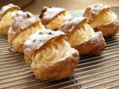 This cream puff recipe is made with choux pastry and filled with vanilla pastry cream. Make frozen cream puffs and fill them with vanilla ice cream. Italian Pastries, Italian Desserts, Just Desserts, Delicious Desserts, Dessert Recipes, Italian Cookies, French Desserts, Gourmet Desserts, Dessert Food