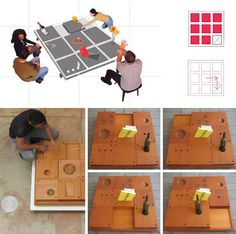 this interactive table design makes passing items into a shared game, a kind of community experiment that calls on us to fit form with function and work together to get what we want.