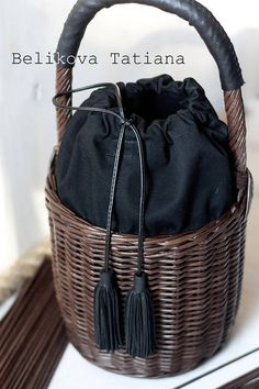 Handmade basket with lid Natural color Handwoven Birkin
