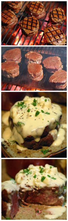 "Beef Fillet with Gorgonzola Sauce Ingredients: 4 cups heavy cream 3 to 4 ounces crumbly Gorgonzola (not creamy or ""dolce"") 3 tablespoons freshly grated Parmesan 3/4 teaspoon kosher salt 3/4 teaspoo..."