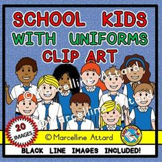 A CUTE SET OF 20 SCHOOL KIDS WEARING THEIR UNIFORM.  These images are great to enhance any project.  Crispy clear images (300dpi), png format!!!  Included you can find 20 images (10 color and 10 bw).  Some kids are standing straight while others are waving.