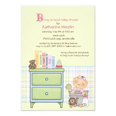 Bring A Book Girl Baby Shower Invitation
