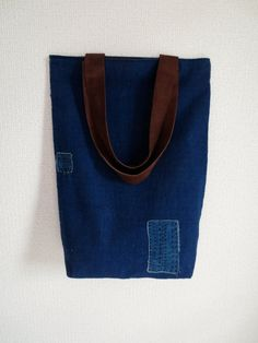 Vintage Indigo Boro Patched Tote Bag Brown Suede by Mujostore