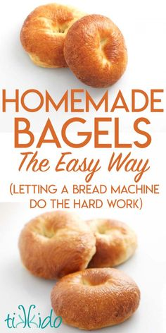 Recipe for making amazingly delicious homemade bagels They have approximately 1 3 fewer calories than bagel shop bagels taste unbelievably delicious and are actually easy to make because you let a bread machine do the hard work for you Churros, How To Make Bagels, How To Make Bread, Best Bread Machine, Bagel Bread Machine Recipe, Bread Machine Rolls, Ma Baker, Bread Maker Recipes, Easy Bread Machine Recipes