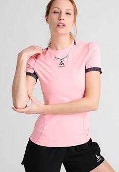 ODLO T-Shirt print - rose/noir - Zalando.de Sports Tops, Printed Shirts, V Neck, Women, Fashion, Black People, Moda, Fashion Styles, Fashion Illustrations