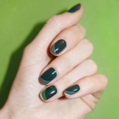 """Pantone named """"Greenery"""" the color of the year, so what better way to embrace it than with your manicure? Instead of sticking to a single shade of green, take this three-color design by Madeline Poole as inspiration for your next look."""