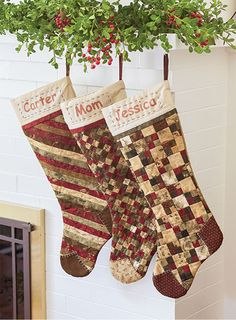 Make stockings for the whole family using one basic shape, and choose from eight different patchwork designs for the from Stockings By Diane Tomlinson Size 10 x Quilted Christmas Stockings, Christmas Patchwork, Christmas Stocking Pattern, Xmas Stockings, Christmas Quilting, Christmas Sewing Patterns, Christmas Fabric, Stocking Tree, Stocking Ideas