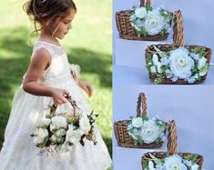 View Flower girl basket by BellasBloomStudio on Etsy Purple Wedding, Diy Wedding, Rustic Wedding, Dream Wedding, Wedding Day, Elegant Wedding, Wedding Attire, Wedding Tips, Perfect Wedding
