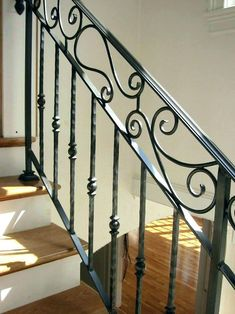 Handrails For Interior Stairs Wrought Iron Stair Railing Hand Crafted Custom Interior Wrought Iron Railing By Indoor Stair Railing, Metal Stair Railing, Interior Stair Railing, Stair Railing Design, Staircase Railings, Wrought Iron Staircase, Wrought Iron Stair Railing, Wrought Iron Decor, Iron Balusters