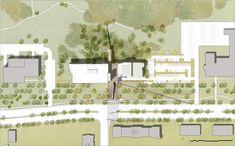 Bibliothèque du Boisé, Saint-Laurent   Design Montréal Site Plan Rendering, Architectural Presentation, Saint Laurent, Floor Plans, Architecture, Model, Design, Graphic Design, Arquitetura