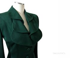 Vintage 40s Lilli Ann Jacket - Wool Forest Green Jacket M. $225.00, via Etsy.