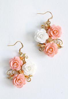 Rose Trellis Flower Earrings