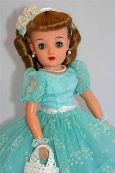 "Ideal Miss REVLON vt-18 Vintage 50's 18"" Fashion Doll Seafoam/Aqua dress with flocked bouquets, precious fabric!"
