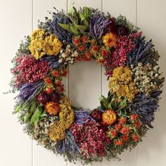 Farmers' Market Herb Wreath - Traditional - Wreaths And Garlands . Dried Flower Wreaths, Wreaths And Garlands, Fall Wreaths, Dried Flowers, Christmas Wreaths, Corona Floral, Deco Floral, Williams Sonoma, Summer Wreath