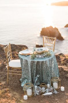 When Manette Gracie's seaside wedding fairytale inspiration dropped in our lap, we instantly gravitated toward the mermaid. Sea Glass Colors, Gold Candles, Pillar Candles, Wedding Paper Divas, Mermaid Beach, Strictly Weddings, Seaside Wedding, Mermaid Silhouette, Wedding Trends
