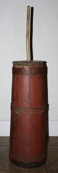 Antique Primitive Staved Wooden Butter Churn in Original Old Red Paint, 1800s