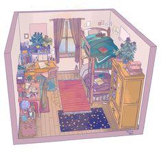 Bedroom Drawing, Bedroom Art, Rose Bedroom, Casa Anime, Isometric Drawing, Perspective Art, Cartoon Background, Aesthetic Art, Cartoon Art