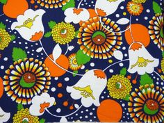 3a18629db8 Funky mod flower power unused textured polycotton fabric coupon - blue  orange yellow green - French 60s 70s vintage