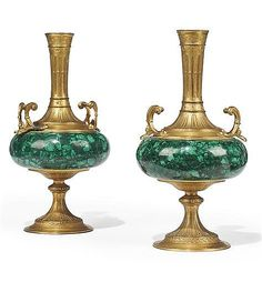 A PAIR OF MALACHITE AND GILT-BRONZE SPILL VASES - by Christie's Antique Tractors, Malachite, Urn, View Image, Decorative Accessories, Beautiful Things, Candle Holders, Auction, Carving