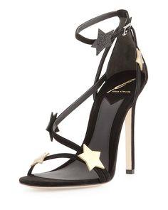 B Brian Atwood Multi-Black Licata Suede Star Sandal2
