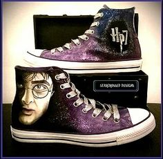 Hand painted Converse/Sneakers courtesy of Amanda Paterson at www.facebook.com/starcrosseddesigns Harry Potter