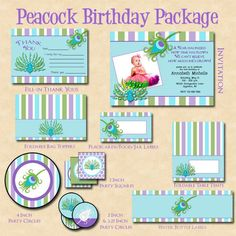 peacock themed party   Peacock Party Themed Birthday Party Package on ...   Birthday Party I ...