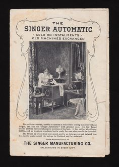 Victorian Trade Card Singer Sewing Machine Automatic Cabinet Table | eBay
