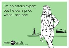 Funny Breakup Ecard: I'm no catcus expert, but I know a prick when I see one.