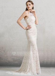 [US$ 189.99] Trumpet/Mermaid Scoop Neck Sweep Train Lace Wedding Dress (002088479)