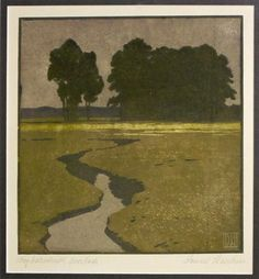Daniel Staschus (1872-1952) A Stream leading to the Trees. Woodblock Print. Circa 1900-1910.