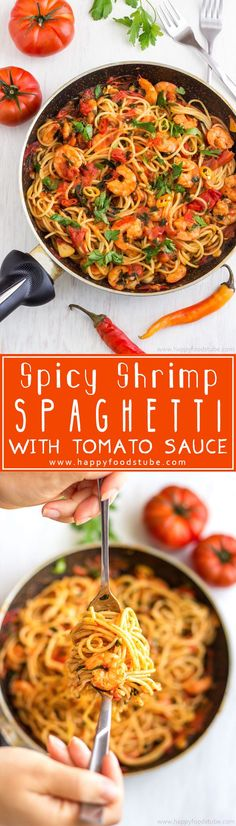 Spicy Shrimp Spaghetti is an easy and delicious dish ready in 20 minutes! Shrimp cooked in tomato sauce with garlic and served with pasta! Great family meal recipe! | http://happyfoodstube.com