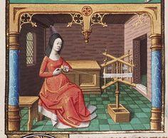 Woman winding yarn, from Augustine, La Cité de Dieu, Book IX, illustrated by Maitre Francois, c. 1475-1480